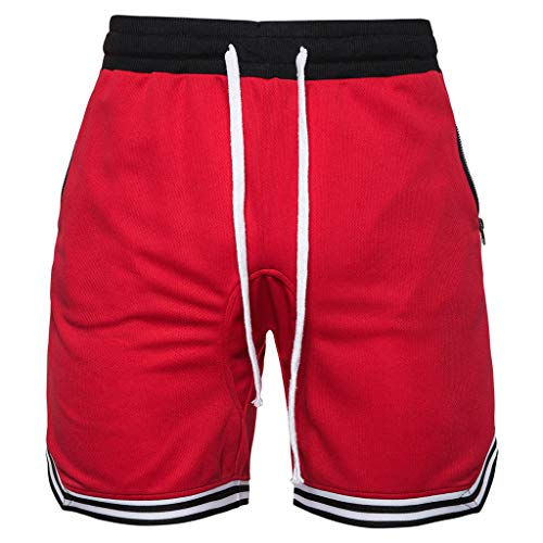 (DIOMOR Athletic Shorts for Men Mesh Pure Color Quick Dry Trunks Gym Workout Basketball Zipper Pockets Drawstring Pants Red)