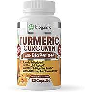 Turmeric Curcumin Supplement with BioPerine 1000mg (120 Capsules) | 2 Month Supply of All Natural Effective Joint Pain Relief & Anti Inflammatory | Vegan Pills Support Brain & Heart Health - Bioganix