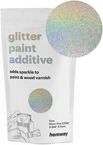 Hemway MICROFINE Glitter Paint Additive Emulsion Water Based Paints 100g (Silver Holographic)
