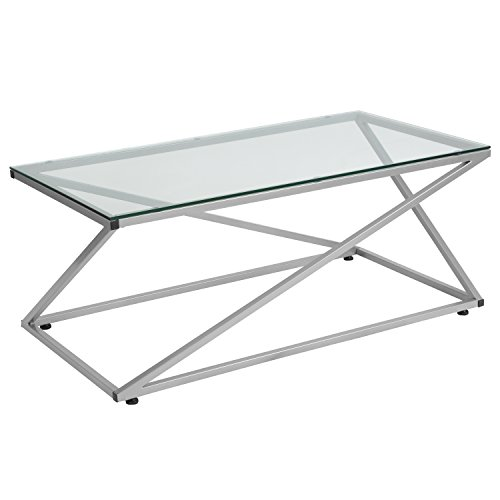 Flash Furniture Park Avenue Collection Glass Coffee Table with Contemporary Steel Design