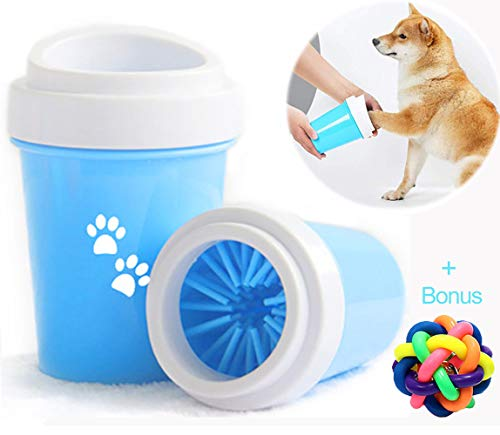 (Portable Dog Paw Cleaner Cup, Sensico Pet Paw Washer Brush Cup for Dogs, Cats Grooming with Muddy Paws, Comfortable Silicone Dog Feet Cleaner With a Free Colorful Rubber Ball)
