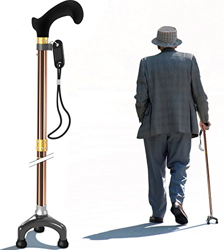 Bago Walking Cane for Men & Women - Folding Stick with Ergonomic Handle and Pivot Tripod Tips - Travel with These Adjustable Canes and Walking Sticks - Pack Small, LightweightCollapsible (Champ) -