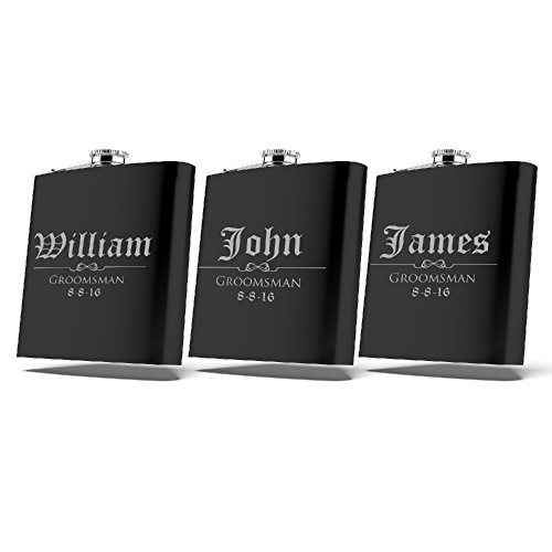 Set of 6 Set of 3 Single  Personalized Flask Groomsmen Gift Customized Groomsman Flasks Wedding Favors Matte Black Design 3 3