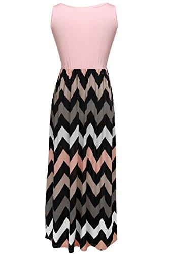 ZEARO Col Rond Longue Robe Sans Manches femme-de grande taille -Rayures-4 couleurs au choix