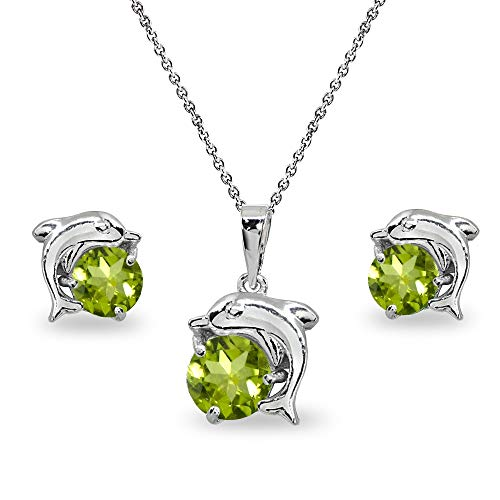 (Sterling Silver Peridot Round-Cut Dolphin Animal Dainty Pendant Necklace & Stud Earrings Set)