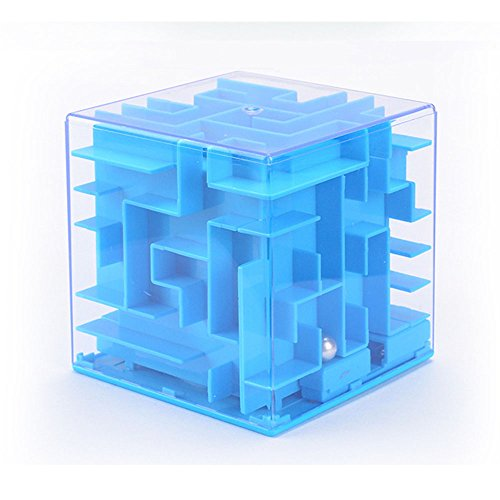 3D Three-dimensional Maze Piggy Bank Puzzle Early Education Mazy Money Box Toy (Blue)