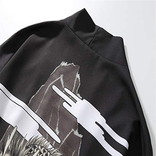 Abrigo Unisex Kimono Samurai con expresi/ón 3D Schimer Chaqueta Japonesa Happi Kimono Haori para Hombre Chaquetas transicionales