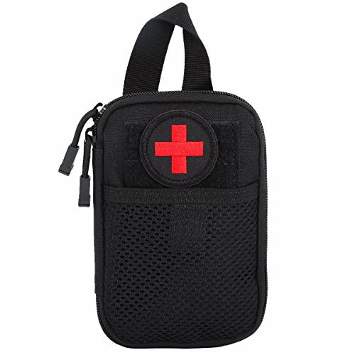 squaregarden Tactical Utility Pouch,Nylon Rip-stop Molle Medical First Aid Kit Bag with Medic Cross Patch (Kit Medic Bag)