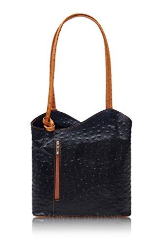 Ladies Italian Leather Handbag Ostrich Print Womens Shoulder Bag Backpack - Amethyst Retail Black / Tan