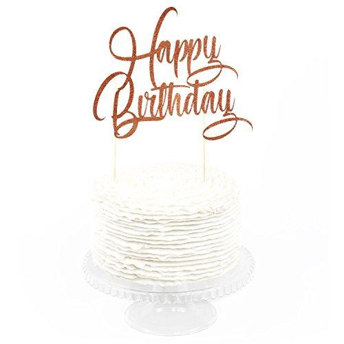 Birthday Cakes Roses - HAPPY BIRTHDAY Rose Gold Glitter Cake Topper