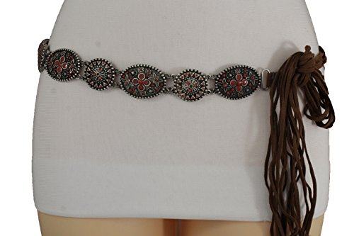 own Tie Belt Bohemian Vintage Silver Metal Charms Red Flower S M (New Ladies Tie Belt)