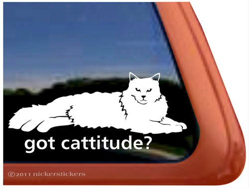 Cattitude Lounging Vinyl Window Sticker