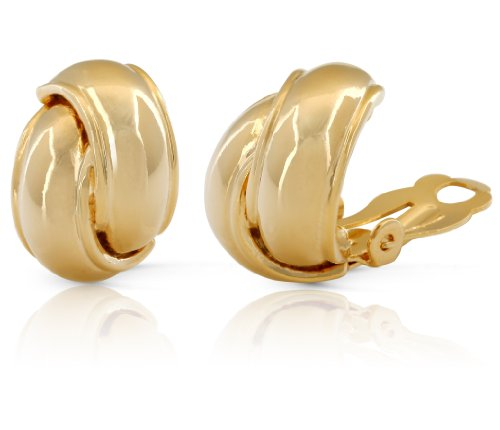 JanKuo Jewelry Gold Plated Shining Polished Finish Knot Clip On Earrings