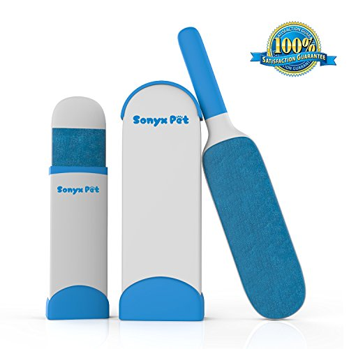 Pet Fur & Lint Remover with Reusable Self-Cleaning Base Double-Sided Brush Removes Dog & Cat Hair from Clothes & Furniture By SONYX