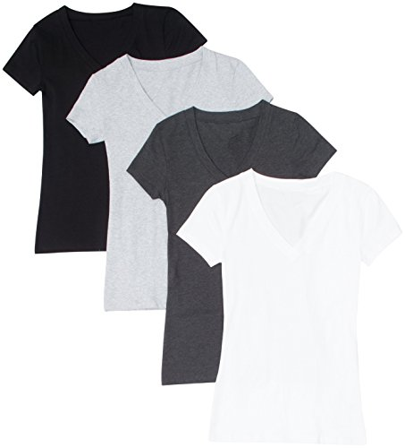 4 Pack Zenana Women's Basic Plus V-Neck Tees 3X White, Charcoal, Black, H Gray