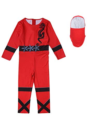 SUPERCOS Halloween Child Kids Ninja Jumpsuits Suit Costume Martial Art Warrior Dress Up for 3T- 8T (3T - 4T, Red)