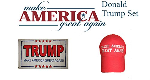 3x5 Donald Trump President White #2 Red Hat & Flag Set 3'x5' PREMIUM Vivid Color and UV Fade BEST Garden Outdor Decor Resistant Canvas Header and polyester material FLAG