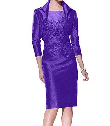 Charmant Brautmutterkleider lang Satin Abendkleider Damen Bolero mit Violett Kleider Knie Traube Ballkleider Dunkel 1x1HSTO