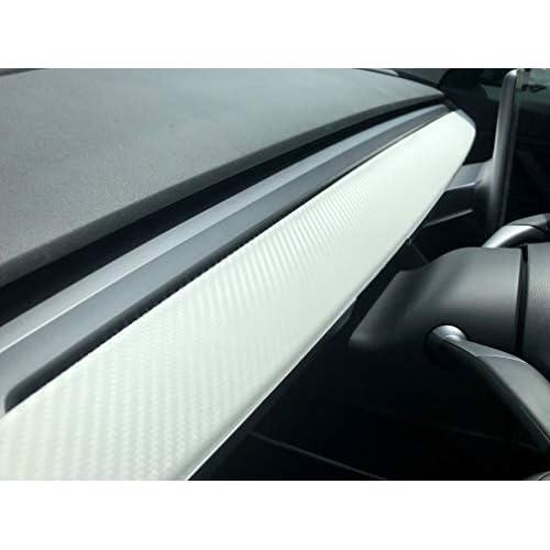 EVamped Tesla Model 3 Dash Vinyl Wrap Kit-White Carbon Fiber