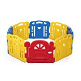 Tobbi Baby Playpen Safety Play Center Yard Baby Kids Home Indoor Outdoor Pen 8 Panel Red + Yellow+Blue