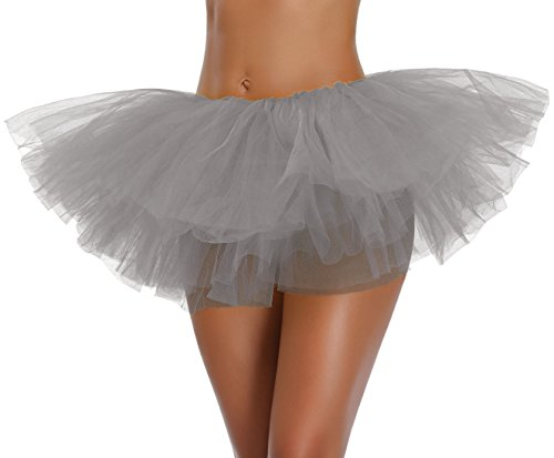 v28 Women's Teen Adult Classic 5 Layered Full Tulle Tutu Skirt (One Size, Gray 5Layer)]()
