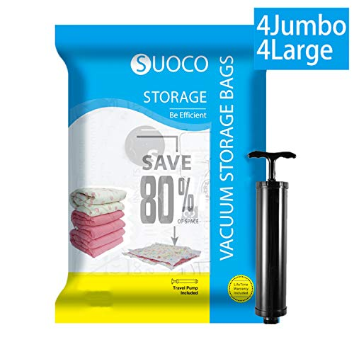 Premium Vacuum Storage Bags 8 Pack (4 x Large, 4 x Jumbo) 80% More Space Saver Bags for Clothes, Blankets, Comforters, Pillows - Travel Hand Pump Included