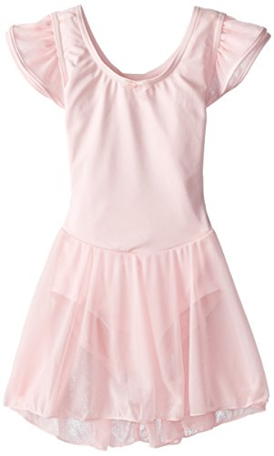 Capezio Little Girls' Flutter-Sleeve Dress Leotard,Pink,S (4-6)