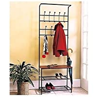 Coat & Hat Racks Entryway Storage Bench Coat Rack Black Metal Wood Seat Shelf Hall Tree Rustic