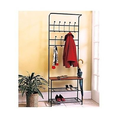 Coat u0026 Hat Racks Entryway Storage Bench Coat Rack Black Metal Wood Seat Shelf Hall Tree  sc 1 st  Amazon.com & Amazon.com: Coat u0026 Hat Racks Entryway Storage Bench Coat Rack Black ...