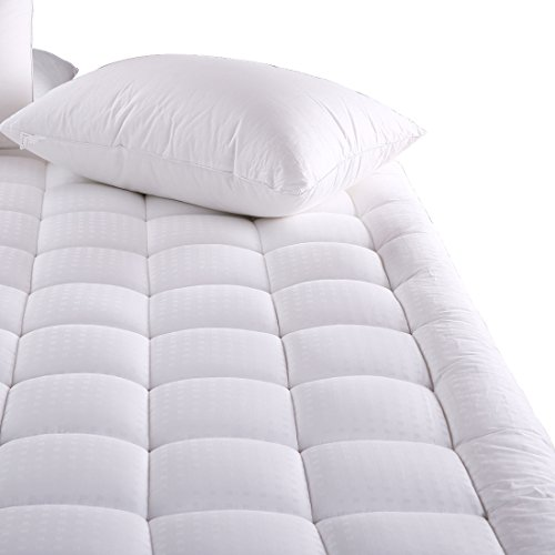 MEROUS Full Size Cotton Mattress Pad - Pillow Top Hypoallergenic Quilted Mattress Topper,Fitted 18 Inch Deep Pocket Mattress Pad Cover