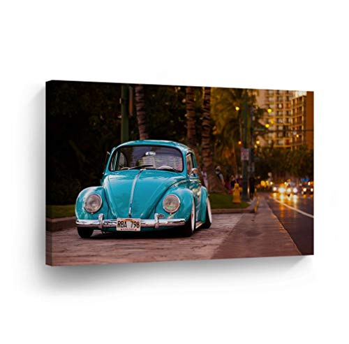 Aloha 40 Inches Home Decor - Blue Volkswagen VW Beetle Bug on The Hawaii Street Aloha State Evening Canvas Print Decorative Vintage Rustic Art Wall Decor Artwork Stretcher Bars - Ready to Hang -%100 Handmade in The USA - 30x40