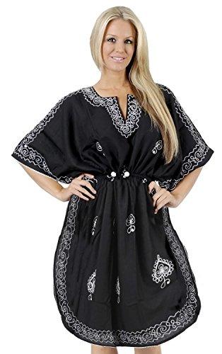 La Leela rayón viscosa bordado playa nadar mujeres Kaftan encubrir blusa superior túnica copete de manga negro