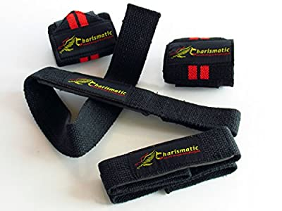 "Wrist Wraps + Lifting Straps Bundle (2 Pairs) by Charismatic: Weightlifting, Bodybuilding, Powerlifting, Crossfit, Support for Women & Men Medium 18"" x 3"" Wraps & 24"" x 1.5"" Straps"