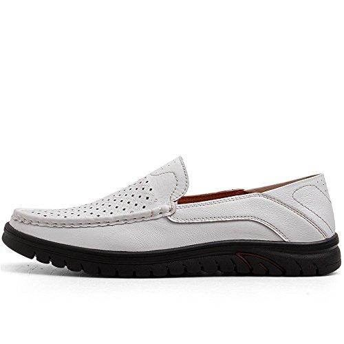Cuero Ocio Respirable de de de Mocasín Libre Zapatos White Hollow en los Wave conducción Aire Genuino Vamp al de Mocasín Hombres Sole Mocasines t8wEaa