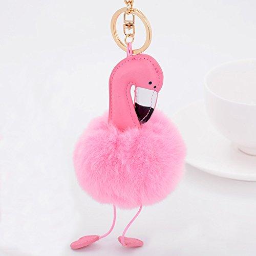 Doll Keychain - EASYA Flamingo Key Chain/Cute Creative Animal Keychains Pompom Fur(Pink Keychain)