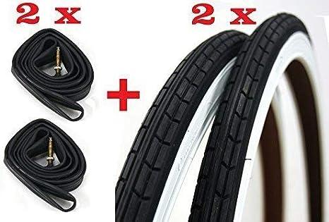 2X Neumáticos + 2X Cámaras de Aire para Bici Bicicleta/Tamaño 28 X 1 5/8-1 3/8 (700 X 35) - en Blanco - Negro/Neumático Bicicleta Cámara de Aire Bicicleta: Amazon.es: Deportes y aire libre