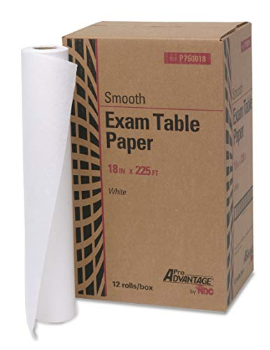 Pro Advantage P750018 Exam Table Paper, 18'' x 225', White, Smooth (Pack of 12) by ProAdvantage