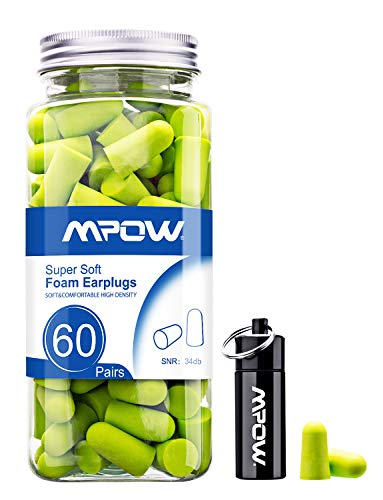 Mpow Foam Earplugs 60 Pairs with Aluminum Carry Case, 34dB SNR Ear Plugs, Soft Earplugs Noise Reduction for Hearing Protection, Ear Plugs for Sleeping, Hunting Season, Working, Shooting, Travel(Green)