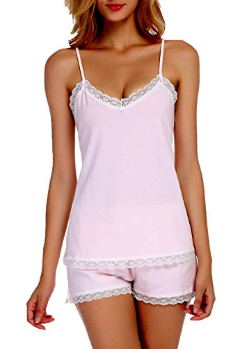 Chamlymers Women's Sexy Sleeveless Pajamas Set Lace Camisole Sleepwear Strech Shorts Pink S