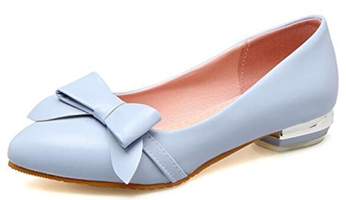 Women's Low On Aisun Shoes Slip Chunky Heels Court Blue Sweet Bows 7qxBw