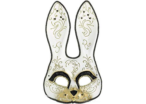 AMSCAN Glitter Gold Scroll Bunny Mask Halloween Costume Accessories, One -