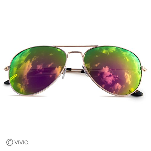 Aviator Sunglasses Mirrored Lenses Metal Frame Vivic  Purple