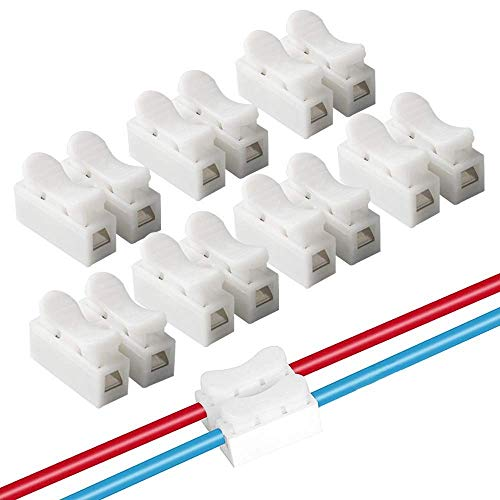 GXSQLW 100 pcs CH2 Spring Wire Connectors, Spring Connector Quick Connector Cable Clamp Terminal, Screw Terminal Barrier Block, LED Strip Light Wire Connecting, Safety Easy to Use