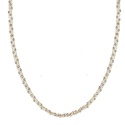 Three Strand Cable Chain (0.96 Ct Diamonds 18k Yellow Gold 1.3mm Diamonds-By-The-Inch 3 Strands Cable Chain Necklace - 18