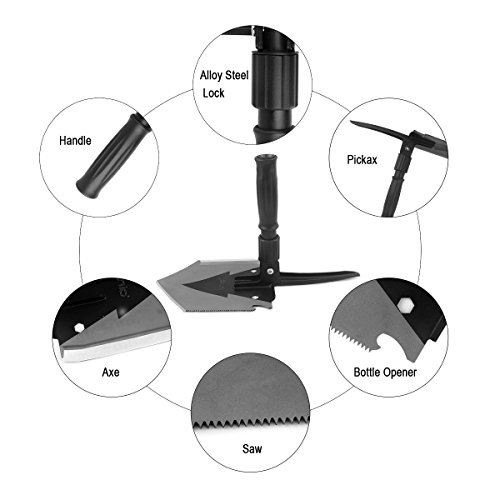 Iunio Military Portable Folding Shovel [38 inch Length] and Pickax with Tactical Waist Pack all in 1 Army Surplus Multitool Tactical Spade for Camping Hiking Backpacking Entrenching Tool Car Emergency