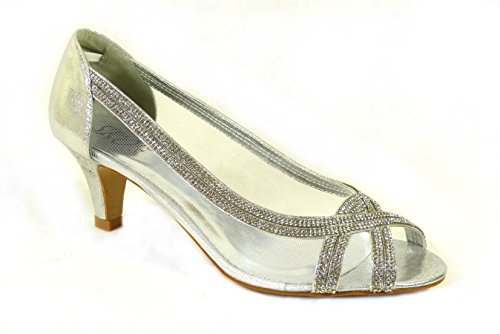 A100 Low Evening Wedding Shoes Heel Womens Bridesmaid Silver SKO'S Prom Size Ladies Bridal Sandals FO1gBq