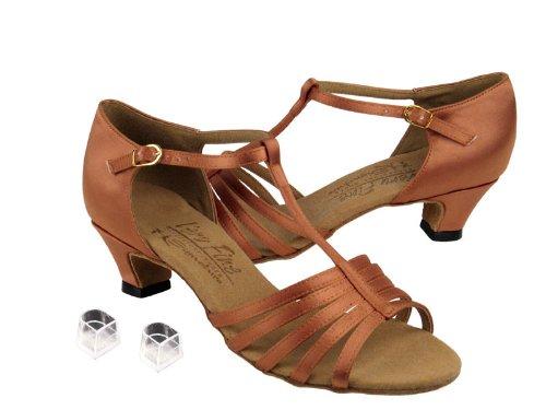 Ladies Women Ballroom Dance Shoes Very Fine EKS9273 Signature 1.2'' Cuban Heel with Heel Protectors (6, Tan Satin)