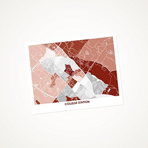 College Station Map Of Texas.Amazon Com College Station Texas Art Map Print Choose Your Size