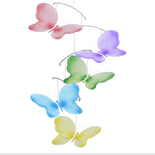 Butterfly Mobile Swirls Nylon Mesh Butterflies Mobiles Decorations Decorate Baby Nursery Bedroom Girls Room Ceiling Decor Birthday Party Baby Shower Crib Mobile Baby Mobile Hanging Mobile 3D Art
