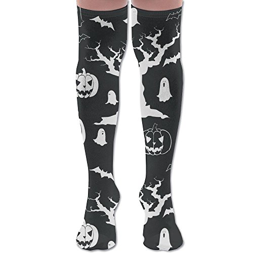 Novelty Halloween Spooky Tree Ghost Pumpkin Casual Premium Quality Over Knee High Sock Sports Crew Soccer Socks]()